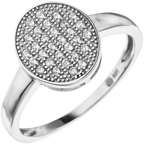 Ring mit vielen weißen Zirkonia auf einer ovalen Ebene 925 Silber Fingerschmuck