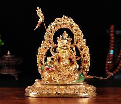"12/"" Antique Tibetan Buddhist hand painting copper gilt Padmasambhava statue"