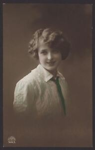 Rosy-Cheeked-Young-Lady-Wearing-Blouse-amp-Tie-Poses-for-the-Camera-1913-Postcard