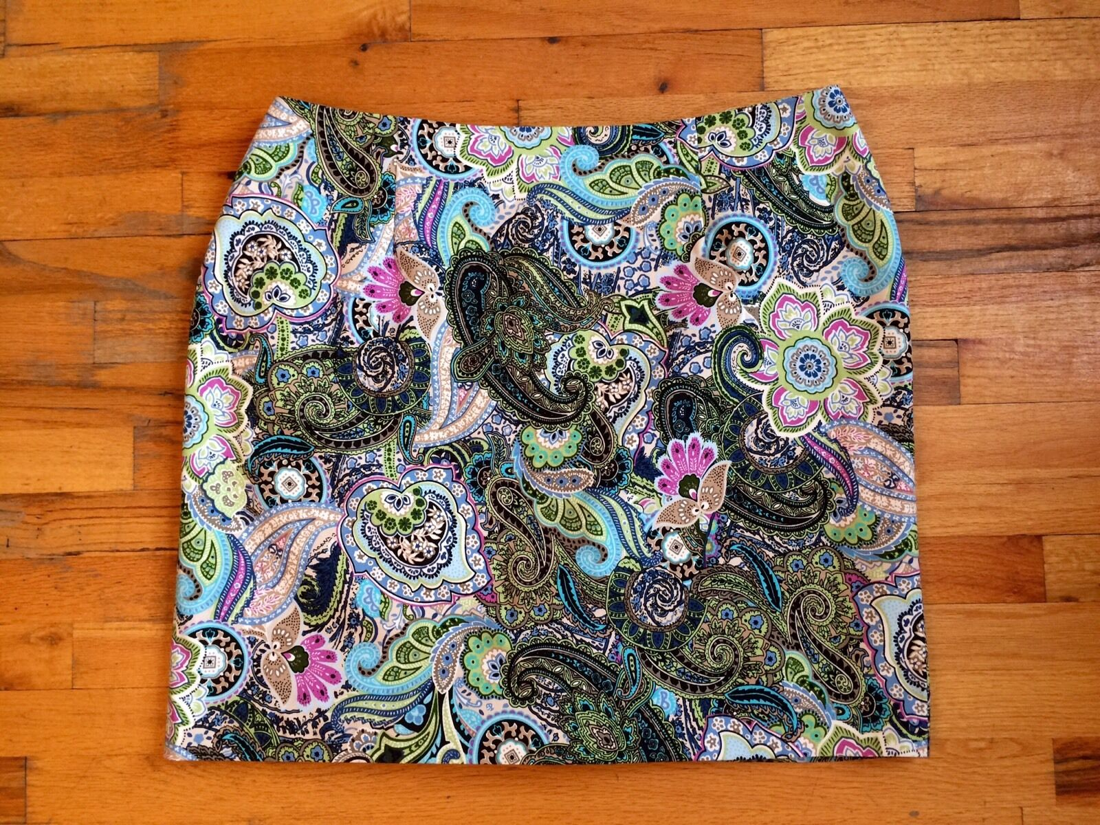 Talbots Skirt Women's Sz 22 Paisley Pencil Skirt Stretch Cotton WP PERFECT