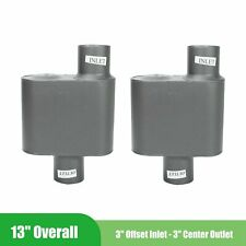 Pair Of Single Chamber Race Muffler Exhaust 3 Offset In 3 Center Out