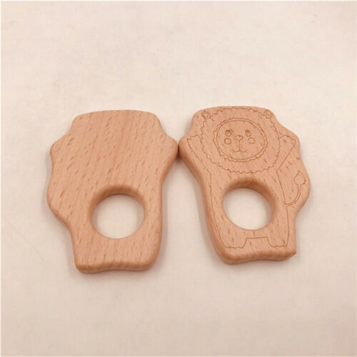 Baby Kids Teether Lion Pendant DIY Wood Food Accessory Pacifier Wooden Teether G