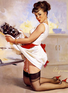 Vintage-Pin-up-Girl-CANVAS-PRINT-24-034-X-36-034-Cook-Gil-Elvgren-Poster-Let-039-s-Eat-Out