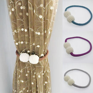 Wall-Magnetic-Curtain-Strap-Buckle-Holder-Pearl-Beads-Tiebacks-Tie-Backs-Clips
