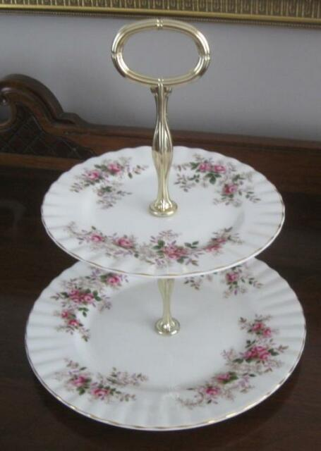 ROYAL ALBERT LAVENDER ROSE Two 2 Tiered Cake Sandwich Server Made In England