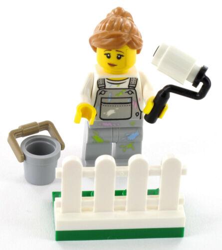 NEU LEGO City Minifigur Malerin mit Farbrolle Eimer und Zaun aus Set 60134