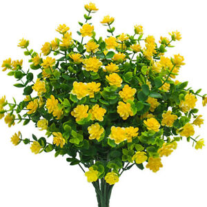 4 Bouquets Artificial Flowers Outdoor Faux Plastic Greenery Shrubs Plants Indoor 313036633617 Ebay