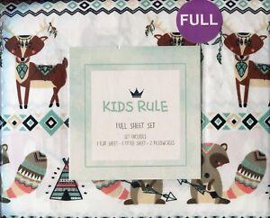Kids Rule * Tribal Creatures * Fox Raccoon Tee Pee * Full Sheet Set * Brand New