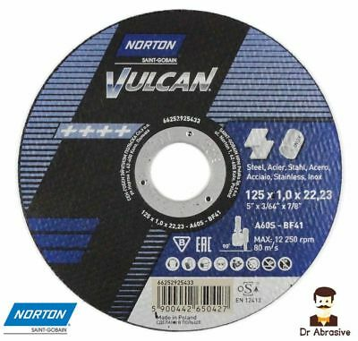 125mm 5 Norton Vulcan Cutting Grinding Slitting Discs Stainless Steel Inox Metal 125x1,0x22,23 Pack of 25