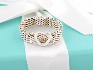 b0ed931ad2a01 Details about TIFFANY & CO SILVER HEART MESH RING SIZE 7 $275