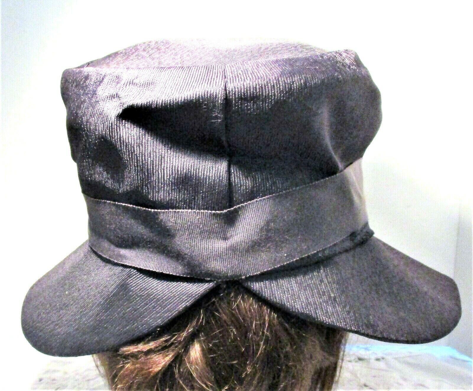 Vintage 1930s Navy Blue Wide Brim Hat With Grosgr… - image 3