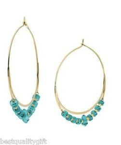 9c2afbbc21605 Details about MICHAEL KORS BRILLIANCE POLISHED GOLD+TURQUOISE WHISPER HOOP  EARRINGS-MKJ2725