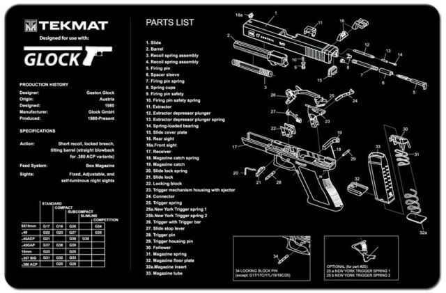 Glock 17 19 21 22 23 27 Handgun Tekmat Gun Cleaning Mat Parts