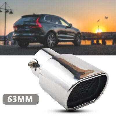 Steel Carbon Fiber Car Rear Dual Exhaust Pipe Tail Muffler Tip Throat Tailpipe H