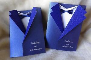 einladungskarten einladung zur kommunion konfirmation sakko blau umschlag ebay. Black Bedroom Furniture Sets. Home Design Ideas