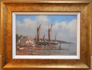 Barges-on-the-Orwell-Suffolk-Oil-by-listed-Marine-artist-Brian-J-Jones-c-2000