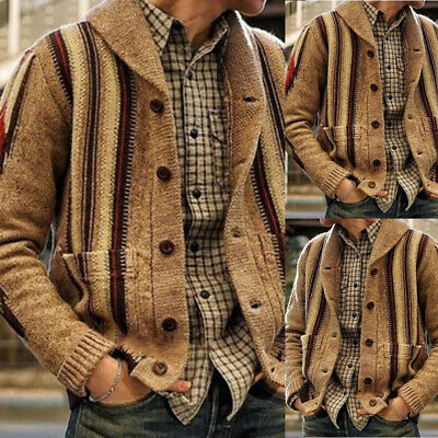 Men Cable Knitted Single Breasted Cardigan Sweater Winter Warm Jacket Coat Tops
