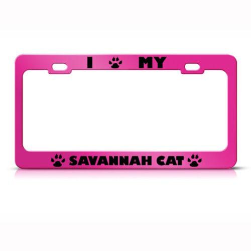 Savannah Cat Pink Animal Steel Metal License Plate Frame Car Auto Tag Holder