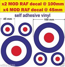 6 RAF Roundel stickers Target The Who Mod Scooter Vespa lambretta Decals