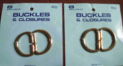 2 Coppie Inutilizzati Vintage Cintura/vestito Fibbia Di Chiusura-ottone Metallo - 1970s-mostra Il Titolo Originale Prezzo Ragionevole