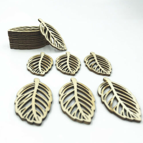Natural Wood Hollow Leaves shape Wooden crafts decoration scrapbooking 53mm