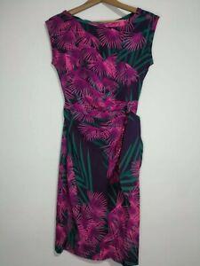 Diane-von-Furstenberg-US-4-UK-8-Kleid-Wrap-Damen-Rosa-Tuerkis-Blatt-Muster