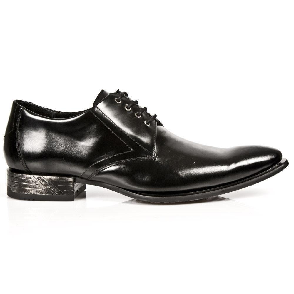 Scarpe casual da uomo  Newrock New Rock Classic 2243-C11 nera pelle verniciata West Acciaio Pizzo Scarpe