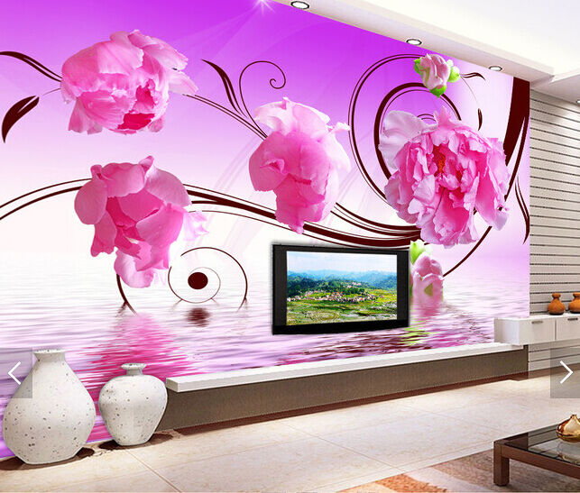 3D Peony Vines Water 451 Paper Wall Print Wall Decal Wall Deco Indoor Murals
