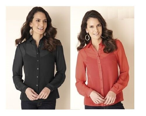 Femmes Sheer Mousseline Georgette Manches Longues polyvalent Bouton Rouge Chemisier Top 26