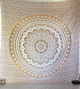 Dore Simple Ombre Tapisserie Indienne Mandala Coton Tenture Murale