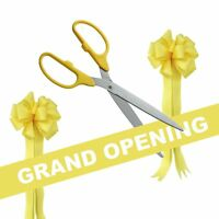 36 Yellow/silver Ceremonial Ribbon Cutting Scissors Grand Opening Kit
