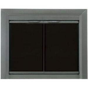 Pleasant Hearth Glass Fireplace Door Craton Gun Metal S