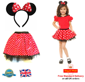 1a0b8a55aff8b6 Détails sur Filles Minnie Mouse Tutu + Nœud Oreilles bandeau rouge à pois  jupe robe fantaisie- afficher le titre d'origine