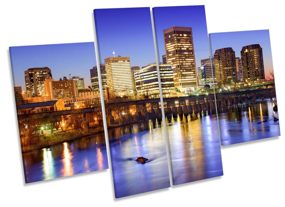 Ciudad de Richmond Virginia horizonte lienzo pa rojo rojo rojo  arte MULTI Panel impresión de imágenes 0c2e76