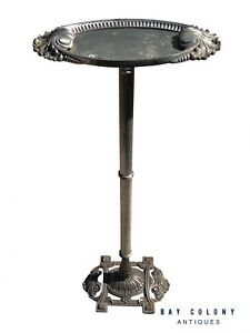 EARLY 20TH C ANTIQUE ART DECO NICKEL PLATED DRINK VALET / STAND