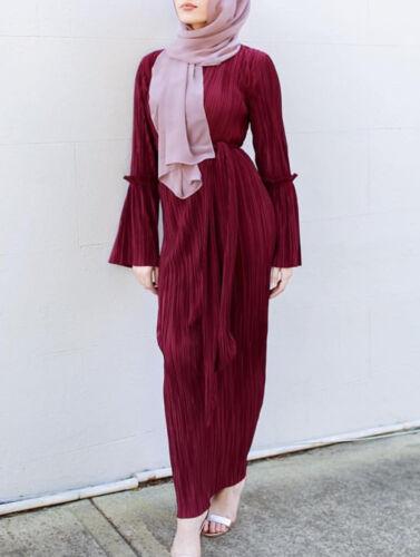 Muslim Women Pleated Dress Robe Jilbab Abaya Cocktail Maxi Kaftan Gown Islamic