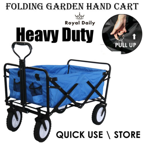 Garden Cart Wagon Folding Trolley Pull-Along Transport Cart Hand Truck Outdoor