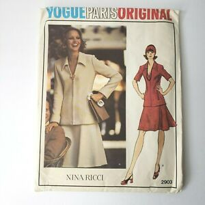 Vogue-Paris-Original-Pattern-2903-Nina-Ricci-Misses-Top-amp-Skirt-16-Uncut-FF-1973
