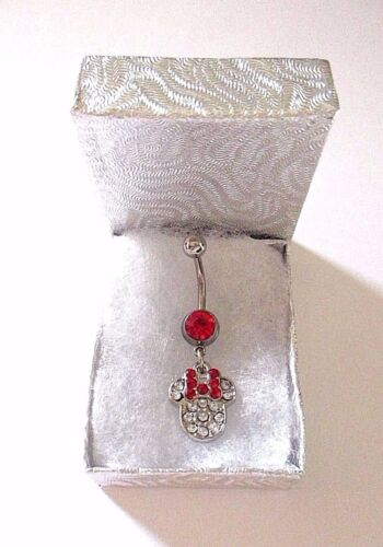 Disney World Minnie Mouse Red Bow White Crystals Pendant on Belly Navel Bar