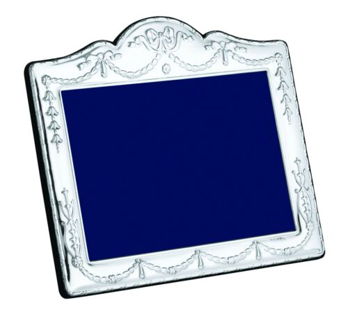 "Solid Silver Photo Photograph Frame Swag & Bow 7 X 5"" Landscape"