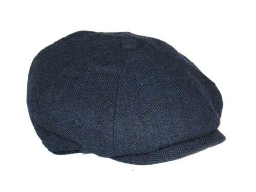 Baker Boy Newsboy Herringbone Cap 8 panneaux patraque oeillères Style Chapeau Gris Bleu Marine