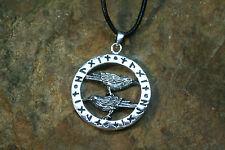 Anhänger Odins Raben Runen Silber plus Lederband Amulett Sterlingsilber