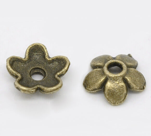 12764 200PC Antique Bronze Tone Alloy Flower 7mm Spacer Bead End Beads Caps Hold