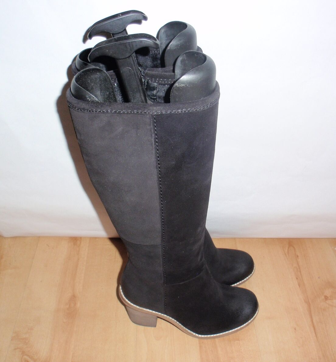 NEW Clarks womens MARBLE MINE black waxed suede knee D length boots size 3.5 D knee f8c2fc