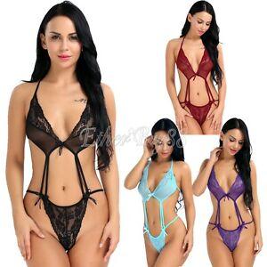 Women-Underwear-Sheer-Lingerie-Lace-Babydoll-Teddy-Sleepwear-Bodysuit-M-XXXL