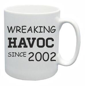 17th-Novelty-Birthday-Gift-Present-Tea-Mug-Wreaking-Havoc-Since-2002-Coffee-Cup