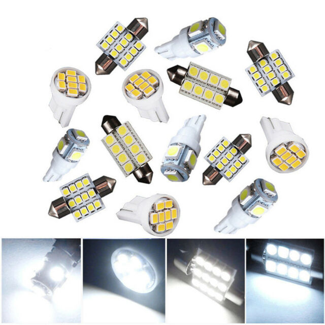 14pcs Car Map Dome License Plate LED Light Bulbs Lamps Auto Interior Package Kit