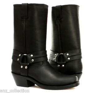 Grinders Harness Hi Black Unisex Western Biker Cowboy Ankle Genuine Leather Boot