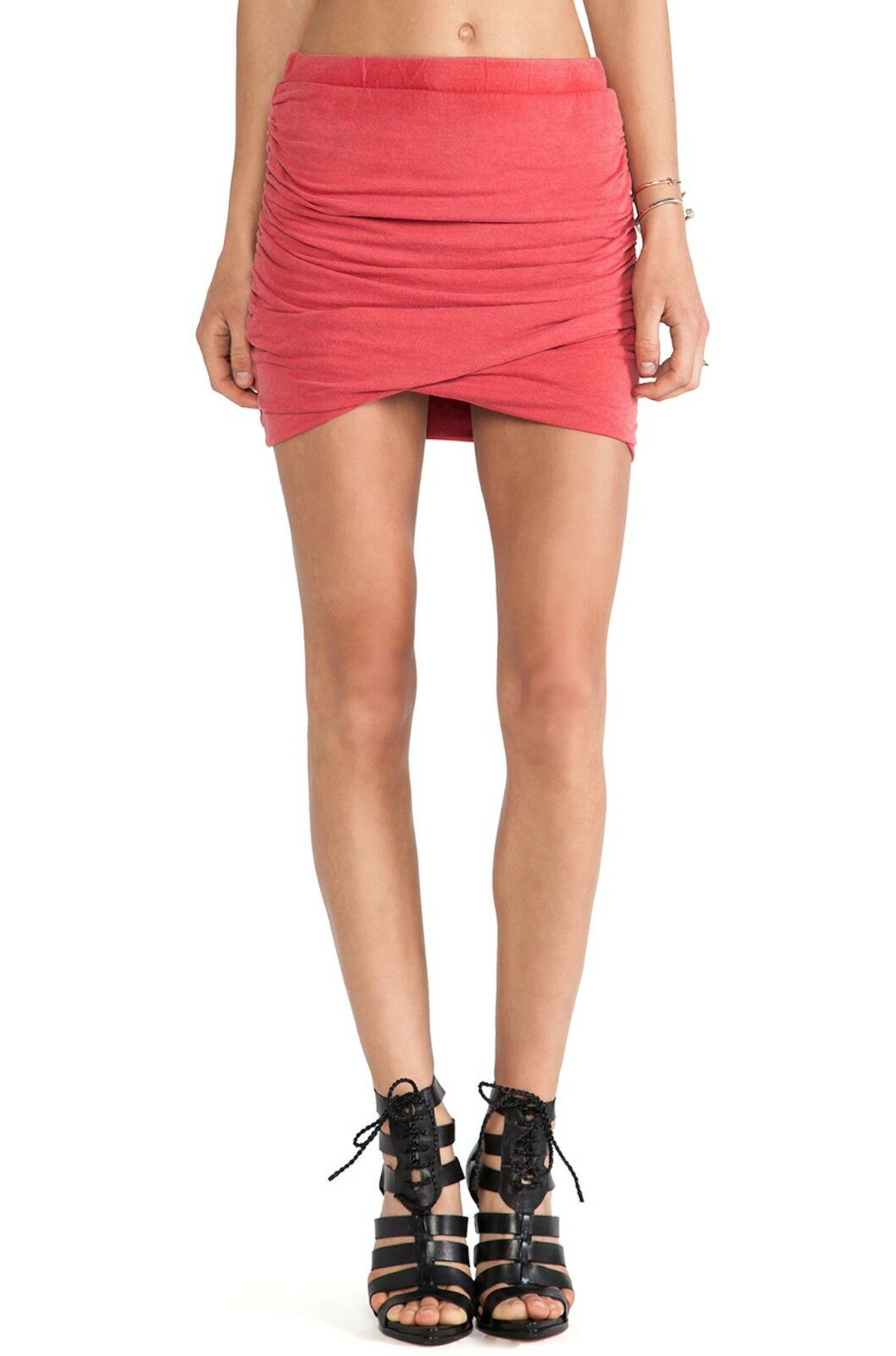 Pam & Gela Red Ruched Mini Skirt NWT Made in USA Women's S14JG306L Size M