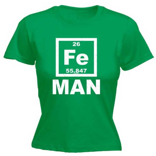 Iron Man Fe Periodic Table Elements WOMENS T-SHIRT Geek Funny birthday gift